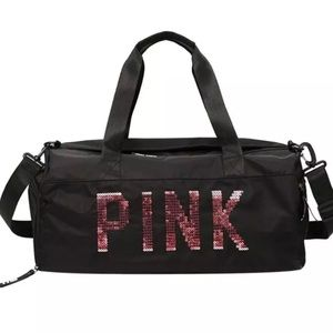 Handbags - NEW Black PINK Bling Duffle Bag Compartments Purse